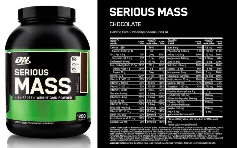 Thành phần dinh dưỡng của Serious Mass