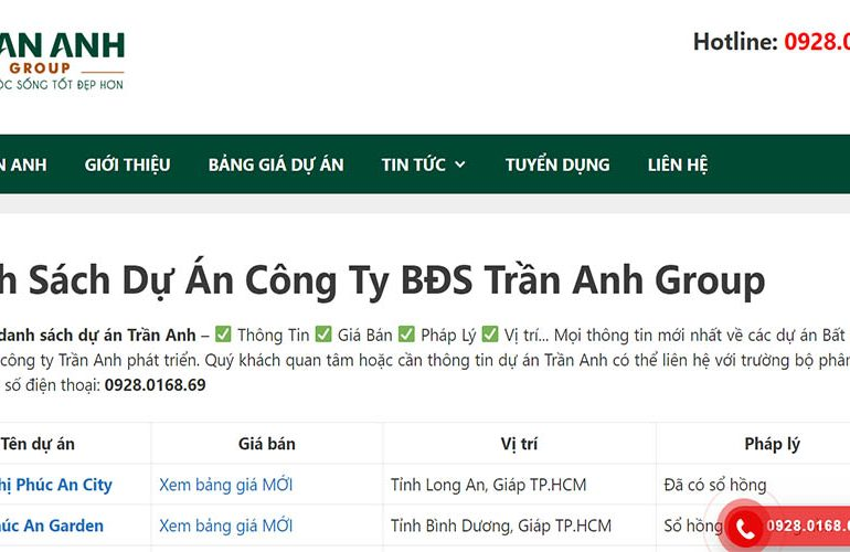 Website duantranhanh.com
