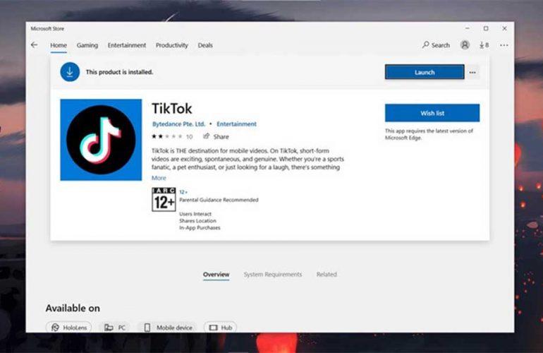 Cài đặt Tik Tok trên PC qua Microsoft Store